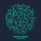 Yrkemodell för grafisk formgivare med linjära symboler för turkos vektor illustrationer