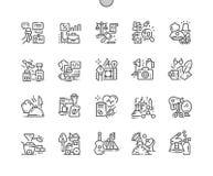 Yrken Brunn-tillverkade linjen rastret 2x för symboler 30 för den perfekta vektorn för PIXELet den tunna för rengöringsdukdiagram royaltyfri illustrationer