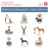 Yrken och ockupationer färgad symbolsuppsättning Veterinär- arbete Royaltyfri Bild