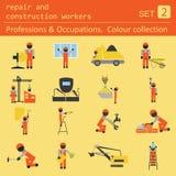 Yrken och ockupationer färgad symbolsuppsättning Reparation och constr Royaltyfri Foto