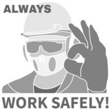 Yrkes- säkerhet och det hälsosymboler och tecknet ställde in vektor illustrationer