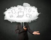 Yrkesmässig affärsman med molnnätverkshuvudet Arkivbild