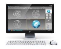 Yrkesmässig arbetsstation för skrivbords- dator vektor illustrationer