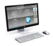 Yrkesmässig arbetsstation för skrivbords- dator stock illustrationer