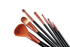 Yrkesmässig borsteuppsättning för makeup Isolerat på vitbakgrunden Royaltyfria Foton