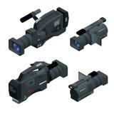 Yrkesmässig digital videokamerauppsättning Filmlins, televisionkamera Plan isometrisk illustration 3d royaltyfri illustrationer