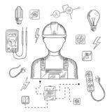 Yrkesmässig elektriker med hjälpmedel och utrustning Arkivbilder