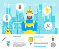 Yrkesmässig elektriker Worker Man för tecknad film och tjänste- kort för elkraft vektor vektor illustrationer