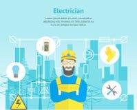 Yrkesmässig elektriker Worker Man för tecknad film och tjänste- kortaffisch för elkraft vektor stock illustrationer