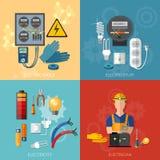 Yrkesmässig elektrisk elektricitetsenergiuppsättning stock illustrationer