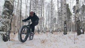 Yrkesmässig extrem idrottsmancyklist som rider en fet cykel i det fria Cyklistritten i mannen för vintersnöskogen gör lager videofilmer