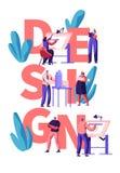 Yrkesmässig formgivare Teamwork Poster Man- och kvinnateckenattraktion och designbyggnadsorientering Idérik lägenhetplanläggning stock illustrationer
