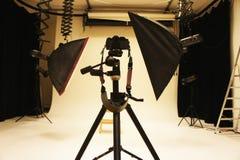 Yrkesmässig fotostudio och utrustning Arkivfoto