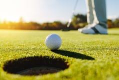 Yrkesmässig golfare som sätter bollen Fotografering för Bildbyråer