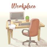 Yrkesmässig grafisk formgivare Hand Drawn Workplace med tabellen, datoren och minnestavlan idérikt arbete vektor illustrationer