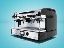 Yrkesmässig kaffemaskin för modern metall för två koppar i tolkningen för främre sikt 3d för coffee shop på blå bakgrund med skug vektor illustrationer