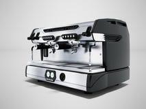 Yrkesmässig kaffemaskin för modern metall för två koppar i tolkningen för främre sikt 3d för coffee shop på grå bakgrund med skug royaltyfri illustrationer