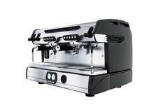 Yrkesmässig kaffemaskin för modern metall för två koppar i tolkningen för främre sikt 3d för coffee shop på vit bakgrund ingen sk vektor illustrationer