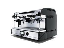 Yrkesmässig kaffemaskin för modern metall för två koppar i tolkningen för främre sikt 3d för coffee shop på vit bakgrund med skug vektor illustrationer