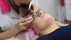 Yrkesmässig kosmetolog som genomgår ögonfransförlängningstillvägagångssätt Förlage och en klient i en modern skönhetsalong arkivfilmer