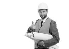Yrkesmässig manlig konstruktionsaffärsman med hans ritningar Arkivbilder