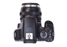 Yrkesmässig modern DSLR-kamera som isoleras på vit Royaltyfri Fotografi