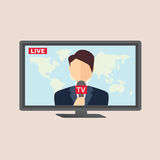 Yrkesmässig nyheternareporter i levande radioutsändning Arkivfoto
