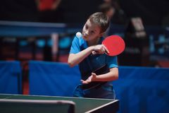 Yrkesmässig pojke för barn för bordtennisspelare junior Mästerskapturnering royaltyfri foto