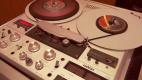 Yrkesmässig Retro maskin för registreringsapparat för ljudbanddäck, arbeta som är pågående lager videofilmer