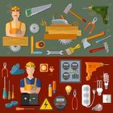 Yrkesmässig snickare- och professionellelektriker royaltyfri illustrationer