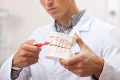 Yrkesmässig tandläkare som arbetar på hans tand- klinik royaltyfri bild