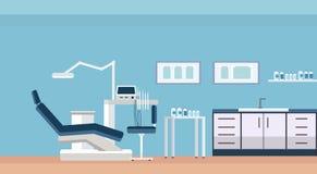 Yrkesmässig tandläkarestol och rum eller kabinett för hjälpmedel tand- för inre för kontor för klinik för tandomsorg den horisont vektor illustrationer