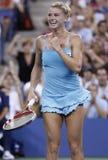 Yrkesmässig tennisspelare Camila Giorgi under den tredje runda matchen på US Open 2013 mot Caroline Wozniacki Arkivbilder