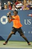 Yrkesmässig tennisspelare Gael Monfils under den andra runda matchen på US Open 2013 Arkivbild