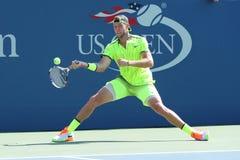 Yrkesmässig tennisspelare Jack Sock av Förenta staterna i handling under hans runda match fyra på US Open 2016 Arkivfoto