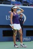 Yrkesmässig tennisspelare Johanna Konta av Storbritannien i handling under hennes match för runda fyra för US Open 2016 Arkivfoton