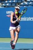 Yrkesmässig tennisspelare Johanna Konta av Storbritannien i handling under hennes match för runda fyra för US Open 2016 Royaltyfri Fotografi