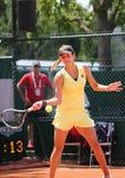 Yrkesmässig tennisspelare Julia Goerges av Tyskland under hennes match på Roland Garros 2015 Arkivfoton