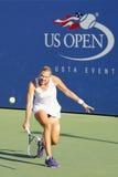 Yrkesmässig tennisspelare Kaia Kanepi från Estland under den andra runda matchen på US Open 2014 Fotografering för Bildbyråer