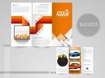 Yrkesmässig trifold broschyr, reklamblad eller katalog Arkivbilder