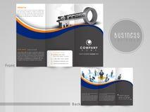 Yrkesmässig trifold reklamblad eller mall för affär vektor illustrationer
