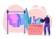 Yrkesmässig tvätteriarbetare för kvinnligt tecken som ger sig till klientpåsen med ren kläder på mottagande Kemtv?ttservice vektor illustrationer