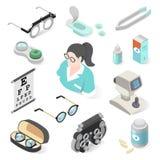 Yrkesmässig utrustning för ögonundersökning och oftalmologiuppsättning stock illustrationer