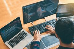Yrkesmässig utvecklingsprogrammerare som arbetar, i att programmera websi royaltyfri foto