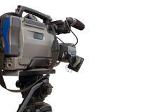 Yrkesmässig videokamera i den funktionsdugliga positionen Royaltyfria Foton