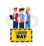 Yrkesmässiga arbetare med likformign till arbetedagen vektor illustrationer