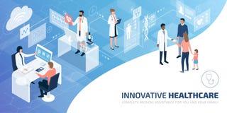 Yrkesmässiga doktorer och patienter i en faktisk miljö stock illustrationer