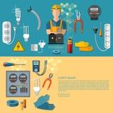 Yrkesmässiga elektriska elektriska manbaner stock illustrationer