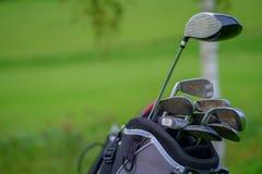 Yrkesmässiga golfklubbar i ett läderbagage på solnedgången Royaltyfria Foton