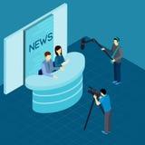 Yrkesmässiga journalister på det isometriska banret för studio royaltyfri illustrationer